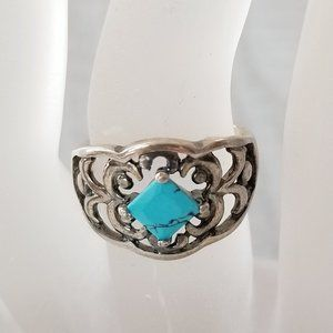 Jewelry - Vintage 925 Silver Turquoise Scroll Filigree Ring